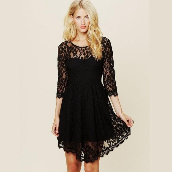 c7a1b23db0 Free People Dresses   Skirts - Free People Black Lace Dress